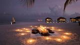 Luxury villas and beach sunset Maldives