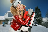 Girl, winter, snow, trees, snowboard, hat, glasses, red jacket,