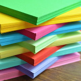Multicoloured sheets of card