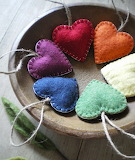 Felt Hearts in a Bowl