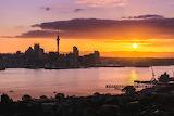 Auckland City Sunset from Mt Victoria Devonport New Zealand