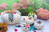 Autumn, painted pumpkins, hydrangeas