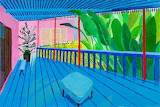 David hockney garden with blue terrace