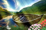 Boat-swan-paradise-lovely-hills-lake-nice-grass-sun rays