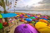 Ocean, beach, umbrellas, people, bar, palm tree, colorfu, Bali