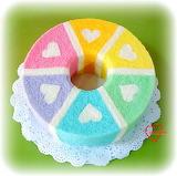 ^ Rainbow hearts chiffon cake