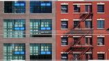 Blue and orange buildings 77
