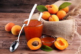 Spoon, apricot, leaves, apricot jam, jam, fruit, food