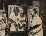 Laura Knight in her studio with Madonna of the Cotton Fields
