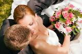 Smile, roses, bouquet, pair, bride, wedding, groom, girl, man, f