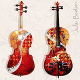 Hand Painted Cello by Julie Borden Bach