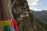 Monastery on cliff Paro Valley of Bhutan