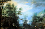 Wooded Landscape with a Bridge by Roelandt Savery