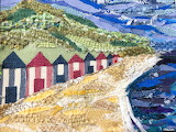 ^ Beach Huts by the Sea Fabric Collage - Eliston