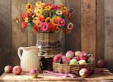 Bouquet de flores y frutas