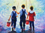 Three Brothers Fishing by Vickie Wade