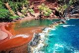 A hidden red-sand beach in Maui, Hawaii known as -Red Sand Beach
