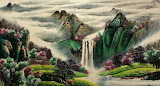 #Chinese Mountains Valley Waterfall Landscape Painting