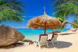 Ocean, beach, sand, deck chairs, umbrella, palm trees, Thailand