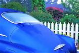 antique blue car