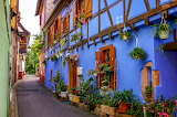 Alley, half-timbered houses, Alsace, old town, architecture
