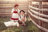 children with goose