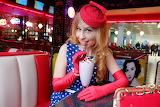 girl in retro cafe