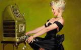 woman winning at slot machine