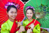 Asian girls with colorful costume