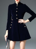 D.FANNI Dark Blue A-line Buttoned Long Sleeve Mini Dress