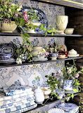 Schumacher blue floral fabric and china