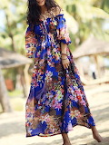 Since Then Short Sleeve Polyester Floral Beach Maxi Dress
