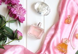 Perfume, fabric, peonies, bottles, Versace, flowers, pink