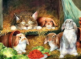 #Kitty and Bunnies in the Hay