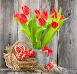 Eggs, Easter, tulips, red, flowers, basket