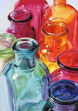 Watercolor glass bottles