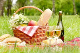 Picnic, forest, flowers, wine, basket, apples, bottle, chamomile