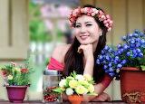 girl flowers###1200 139