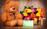 ☺♥ Roses and a Teddy bear...♥