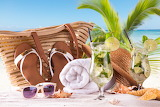 Sea, beach, hat, towel, glasses, bag, sandals, mojito, cocktail