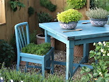 Table, chair, corner of the garden, plants, nature