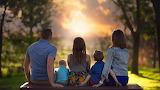 POTW, sunset, children, bench, Family, parents