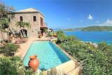 Rustic stone villa and sea view pool