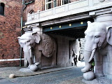 Sculpted elephants at gate to Carlsberg Beer Factory