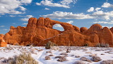 Desert in snow-Arches National Park Utah USA