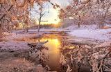 Stream-forest-snow-winter-sunset-nature-landscape