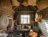 Brown wicker baskets on wall
