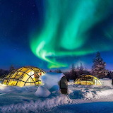 Finland aurora and winter snow scene