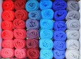 Stacks of colorful yarn