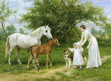 mother and child with horses